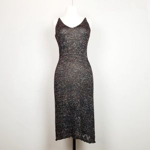 Moda International Black Metallic Knit Dress